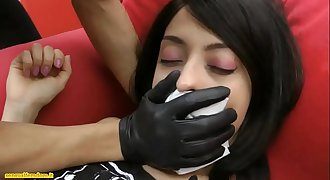 Brunette chloroformed put in bondage and handsmothered by a masked woman