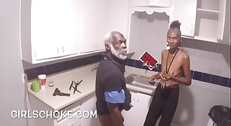DOPE MAN GRANDPA IS BACK GETTING HIS black DICK Deep-throats