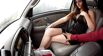 Myreia Temecula model 1st interview and shoot teasing inside car panties leather dress modelpov
