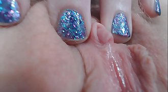 Chipped Fingernail Polish Closeups And Glass Faux-cock Orgasm